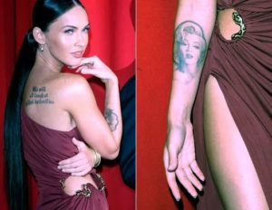megan fox tattoo removal, marilyn monroe tattoo pictures