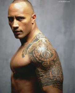 Dwayne 'The Rock' Johnson chiefs tattoo, dwayne johnson arm tattoo, dwayne johnson chest tattoo