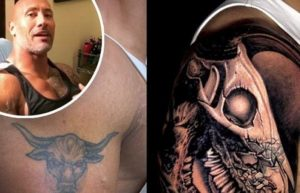 Dwayne 'The Rock' Johnson taurus tattoo, newimage tattoo, evolution tattoo, dwayne johnson brahma bull, dwayne johnson bull tattoo