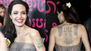 angelina jolie back tatoo, angelina jolie back tattoo meaning, angelina jolie cambodian tattoo