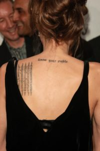 hindi tattoo ideas, angelina back tattoo, angelina jolie khmer tattoo, angelina jolie persian tattoo