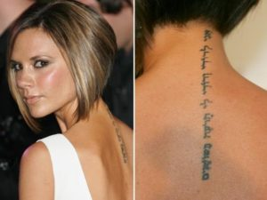 victoria beckham neck tattoo, victoria beckham tattoos back