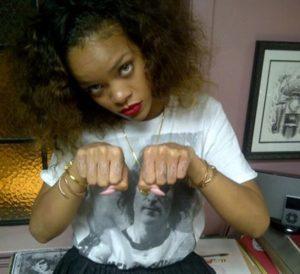 rihanna arm tattoos, rihanna thug life