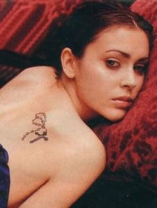 alyssa milano back tattoo,
