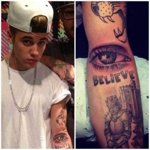 Justin Bieber eye tattoo on arm