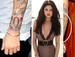 justin bieber tattoo of selena gomez, justin bieber selena gomez matching tattoos
