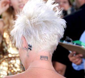 pink neck tattoo, pink barcode, pink bar code, pinks barcode, pinks barcode tattoo, pinks neck tattoo